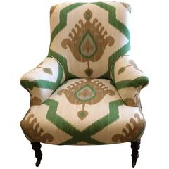 Inviting Low Slung Vintage Club Chair in Ikat Fabric
