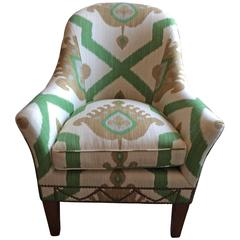 Striking Vintage Ikat Upholstered Club Chair