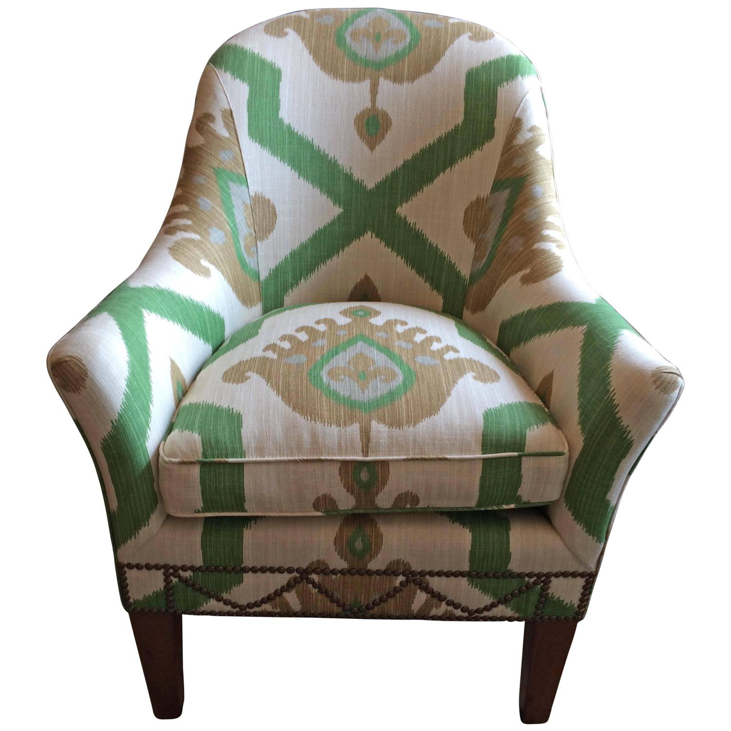 Striking Vintage Ikat Upholstered Club Chair For Sale at