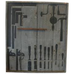 Industrial /Folk Art Tool Silhouette Panel