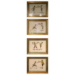 Set of Four Gilded Framed French Prints of Soldiers Fencing, circa 1763