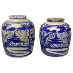 Pair of Blue and White Chinese Ginger Jar with Lids, 20th Century