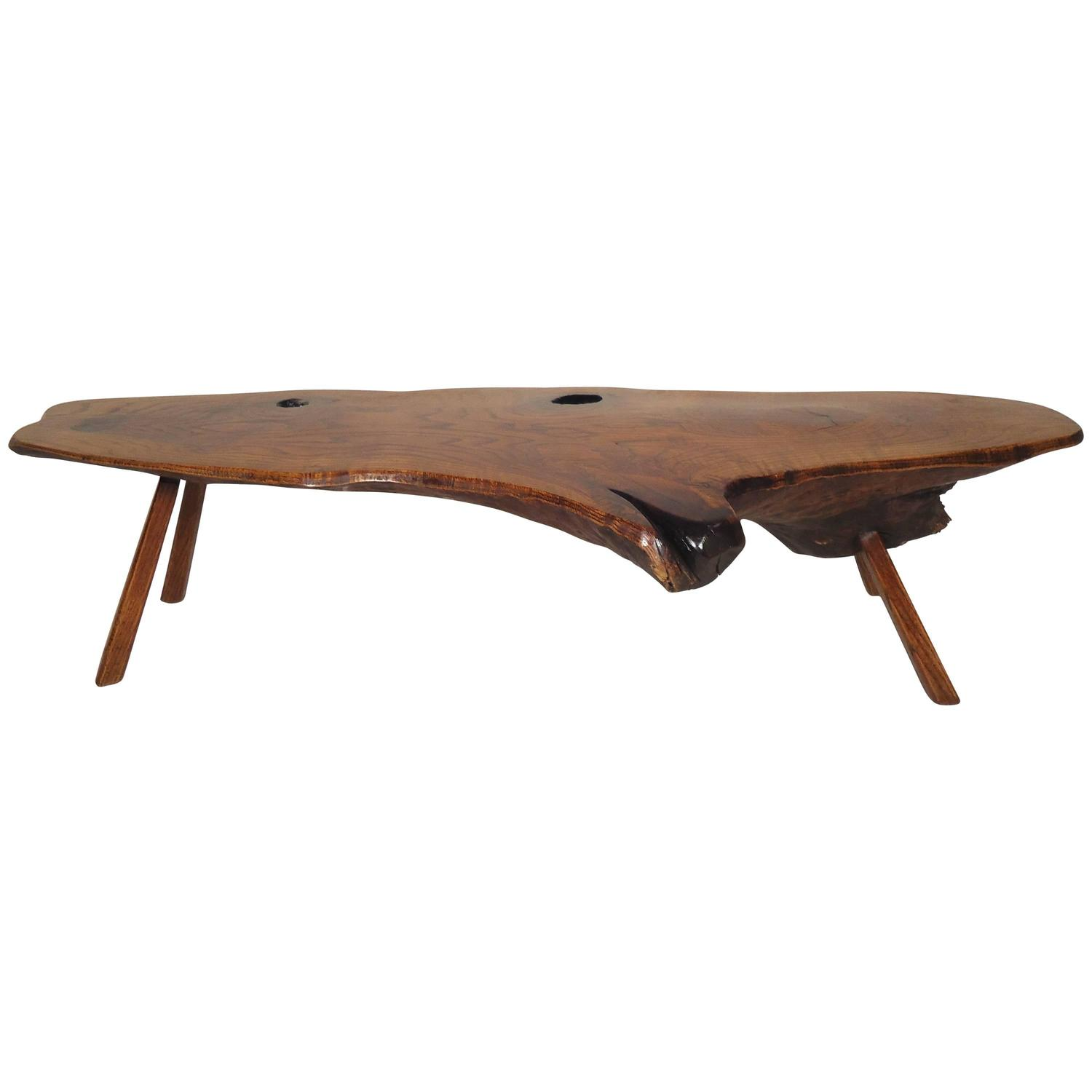 Live Edge Square Coffee Table: Mid-Century Modern Live Edge Coffee Table For Sale At 1stdibs