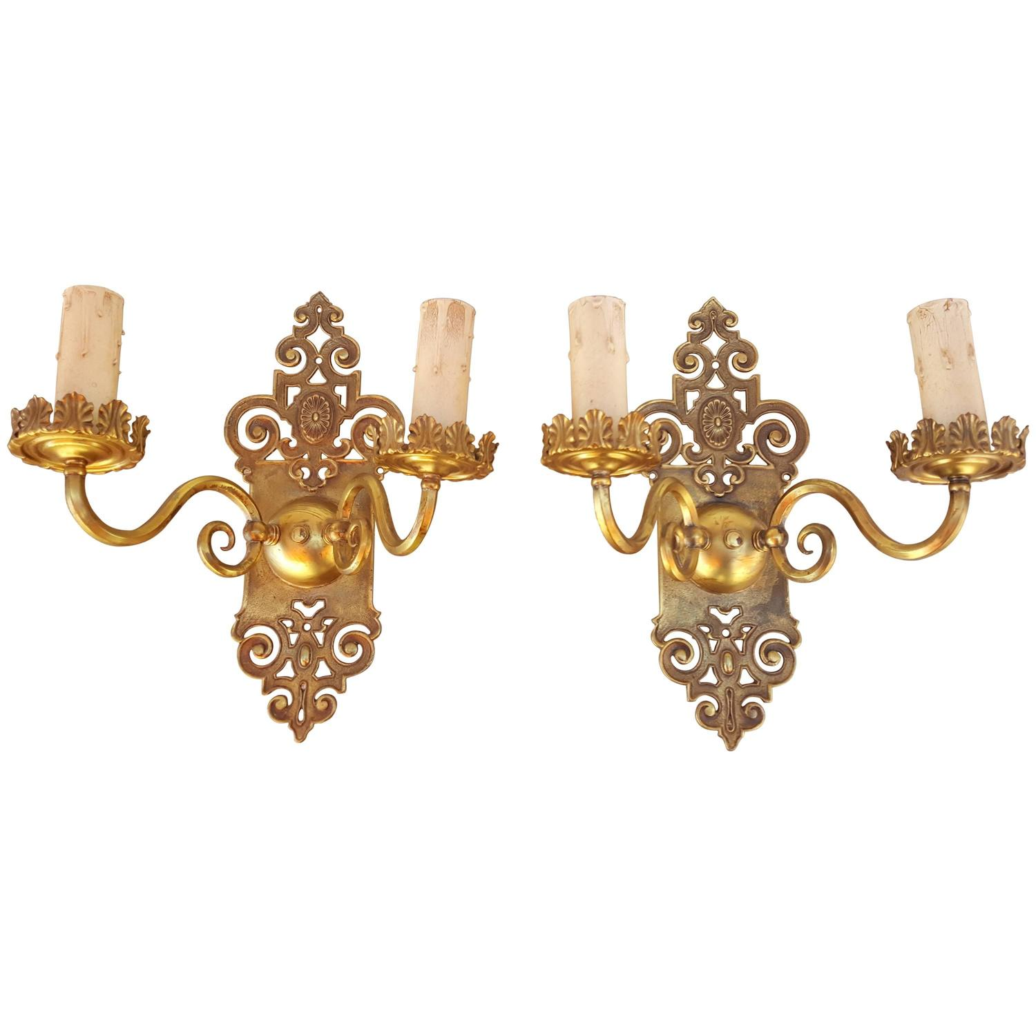 Solid Brass Wall Sconces : Pair of 1930s Pierce Cut Solid Brass Wall Sconces For Sale at 1stdibs