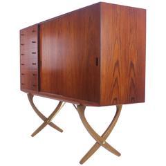 Distinctive Danish Modern Teak and Oak Credenza Designed by Hans Wegner