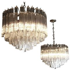 A Matching Pair of Vintage 1970's Murano Glass Trilobi Chandeliers by Venini