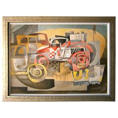 """""""47"""", a Cubist Influenced Abstract Gouache and Watercolor by Gorman, c. 1950's"""