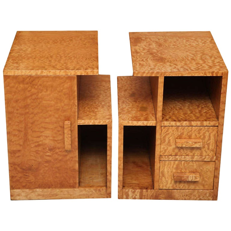 Pair of Burled Maple Nightstands, Probably Sir Edmond Spence