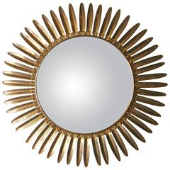 Sophisticated Italian mid-century Convex Sunflower Mirror in Brass C.1960's