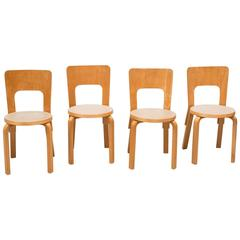 Set of Four Dining Chairs Model 66 by Alvar Aalto