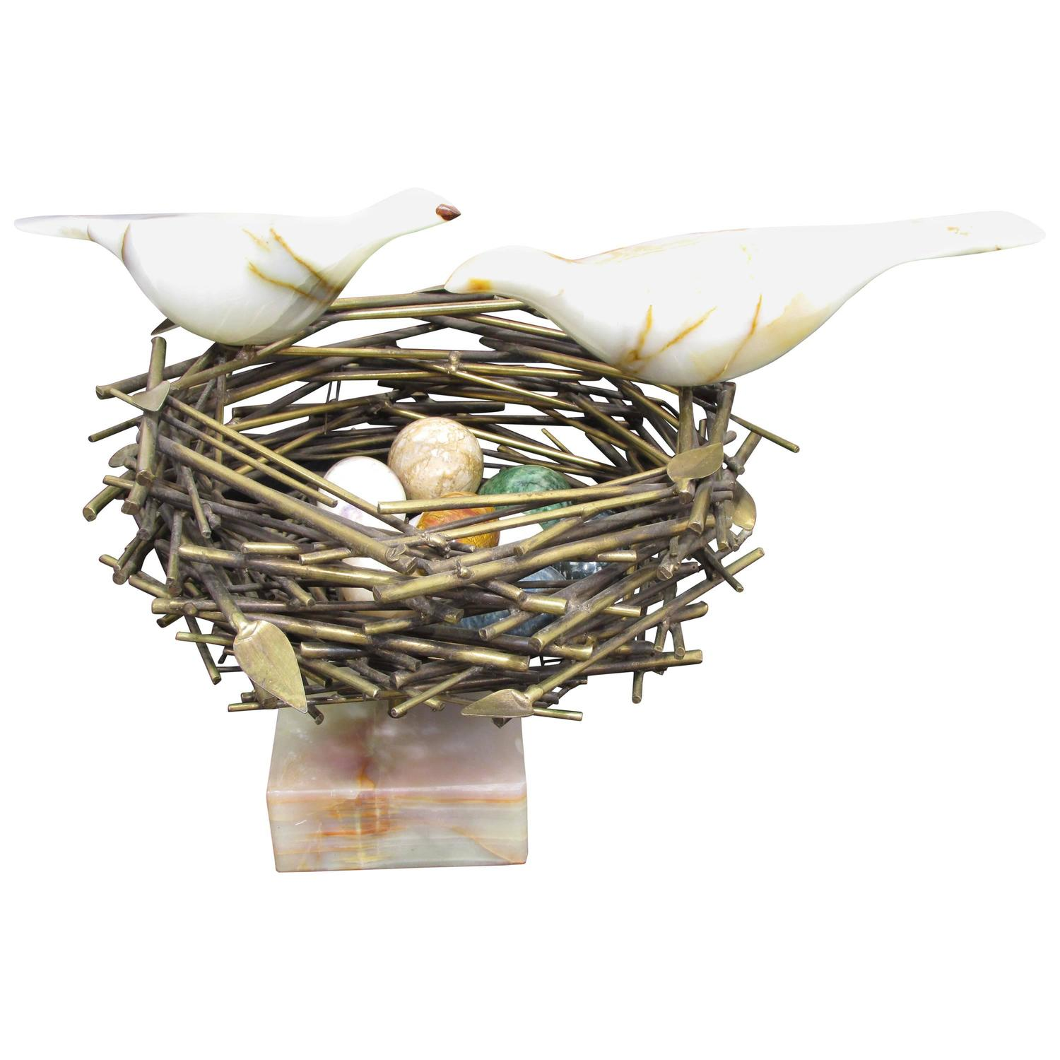 Art Clay Sculpted Bird Nest Ring: Bird Nest Sculpture By Curtis Jere For Sale At 1stdibs
