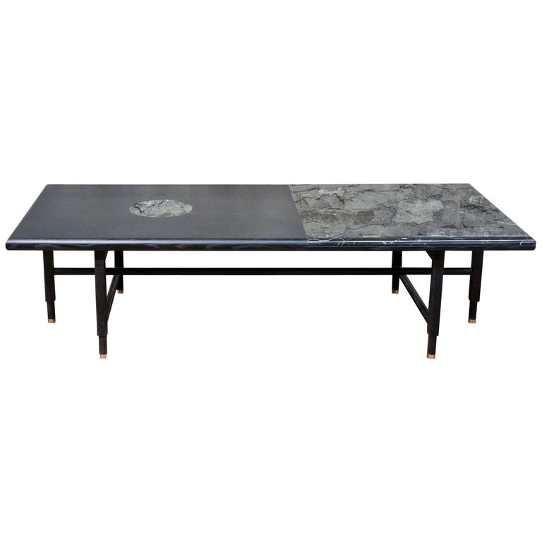 St. Charles Cocktail Table in Black and Black Marble by Volk