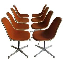 Set of Eight Charles and Ray Eames Swivel Desk or Dining Chairs, Girard Fabric