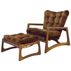 Adrian Pearsall Sculpted Walnut Lounge Chair and Ottoman