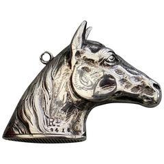 Victorian Novelty Silver Figural Horses Head Vesta Case. H B S, Birmingham, 1884