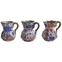 Mason's Ironstone Harlequin Set of THREE Small Jugs or Pitchers, Mid 19th C.