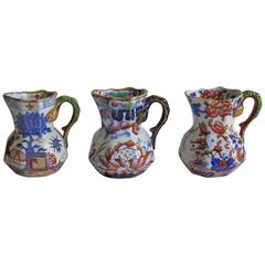 Mason's Ironstone Harlequin Set of Three Rare Miniature Jugs or Pitchers, 19th C
