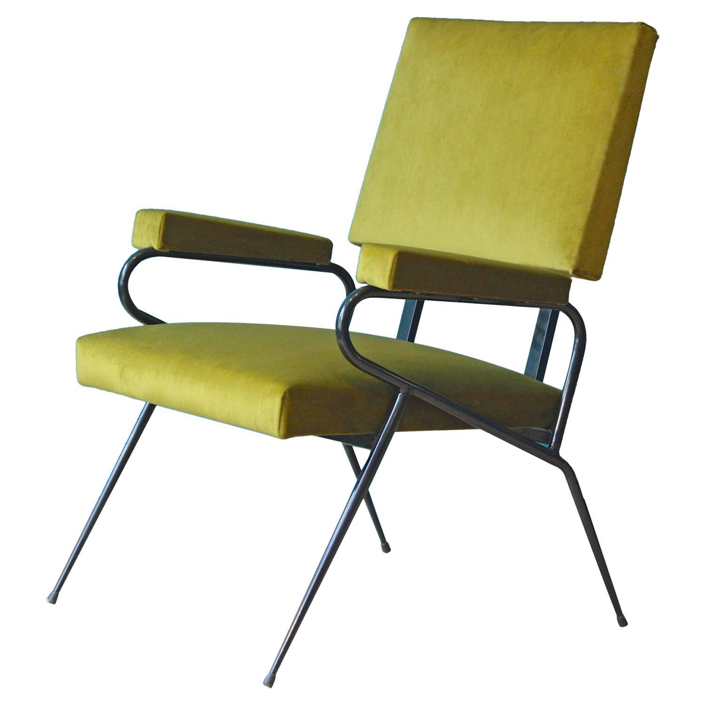 italian green velvet lounge chair 1950s for sale at 1stdibs. Black Bedroom Furniture Sets. Home Design Ideas