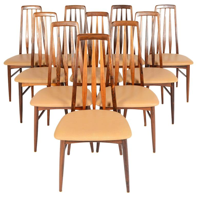 Set Of Ten Eva High Back Rosewood Dining Chairs 1