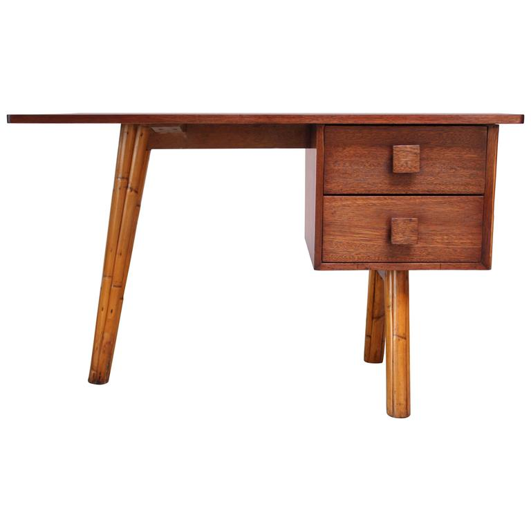 Mahogany and Bamboo Student Desk in the Manner of Royère 1