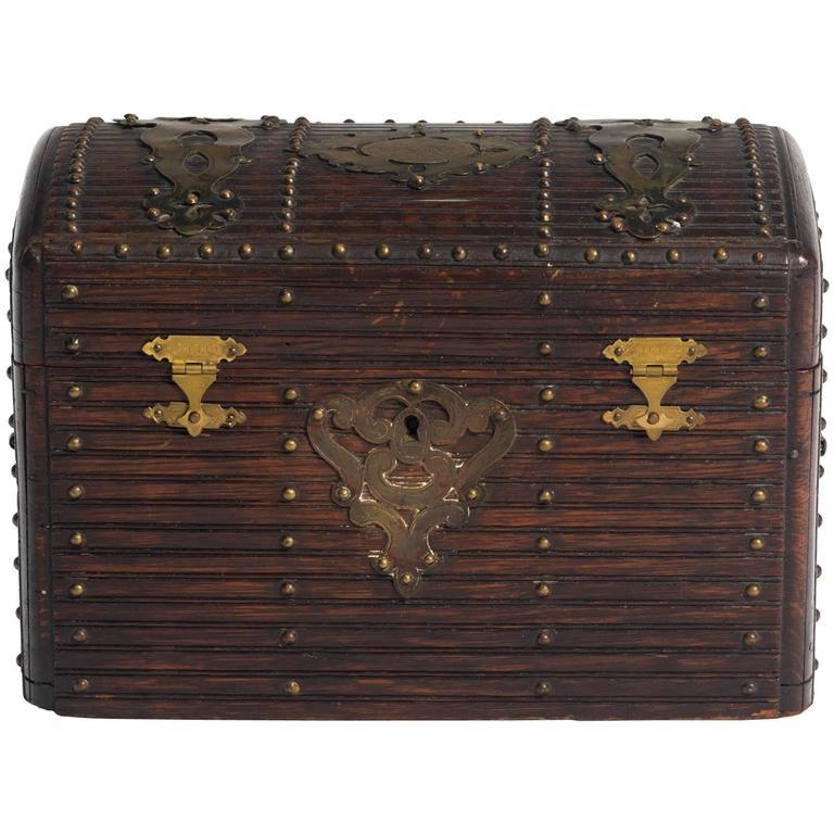 19th Century Wood and Brass Box