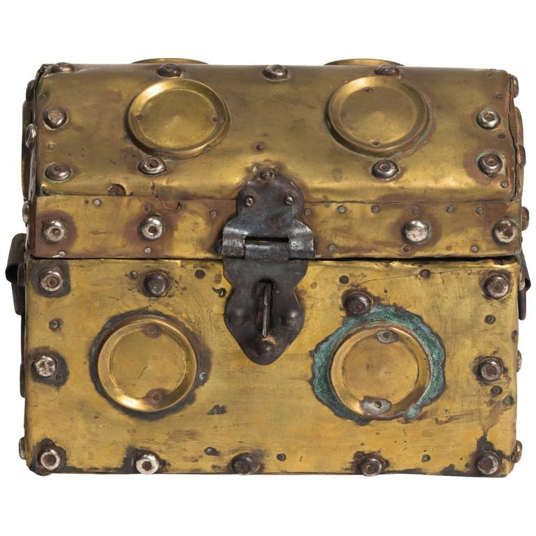 Arts & Crafts Studded Brass Box For Sale