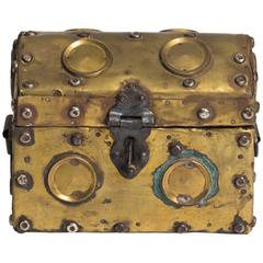 Arts & Crafts Studded Brass Box