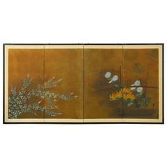 Four-Panel Japanese Byobu Garden Screen