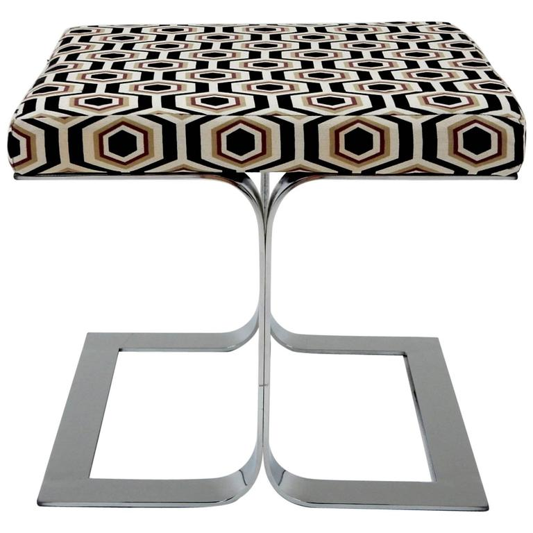 1970s Sculptural Geometric And Chrome Ottoman In Manner Of