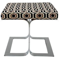 1970s Sculptural Italian Geometric and Chrome Ottoman