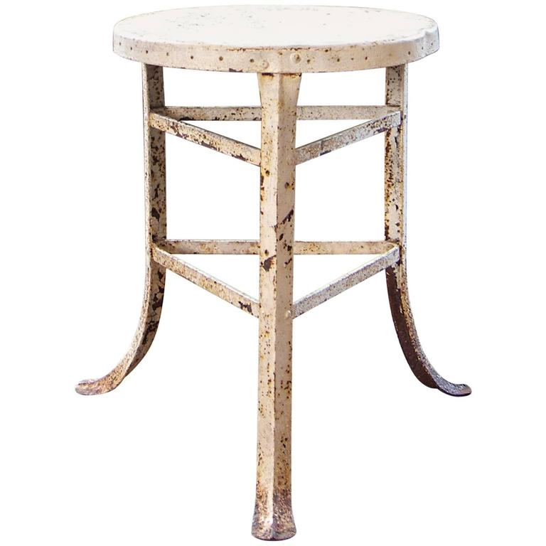 Stool - Vintage Distressed Steampunk Metal Medical or Factory Three-Legged Shop 1