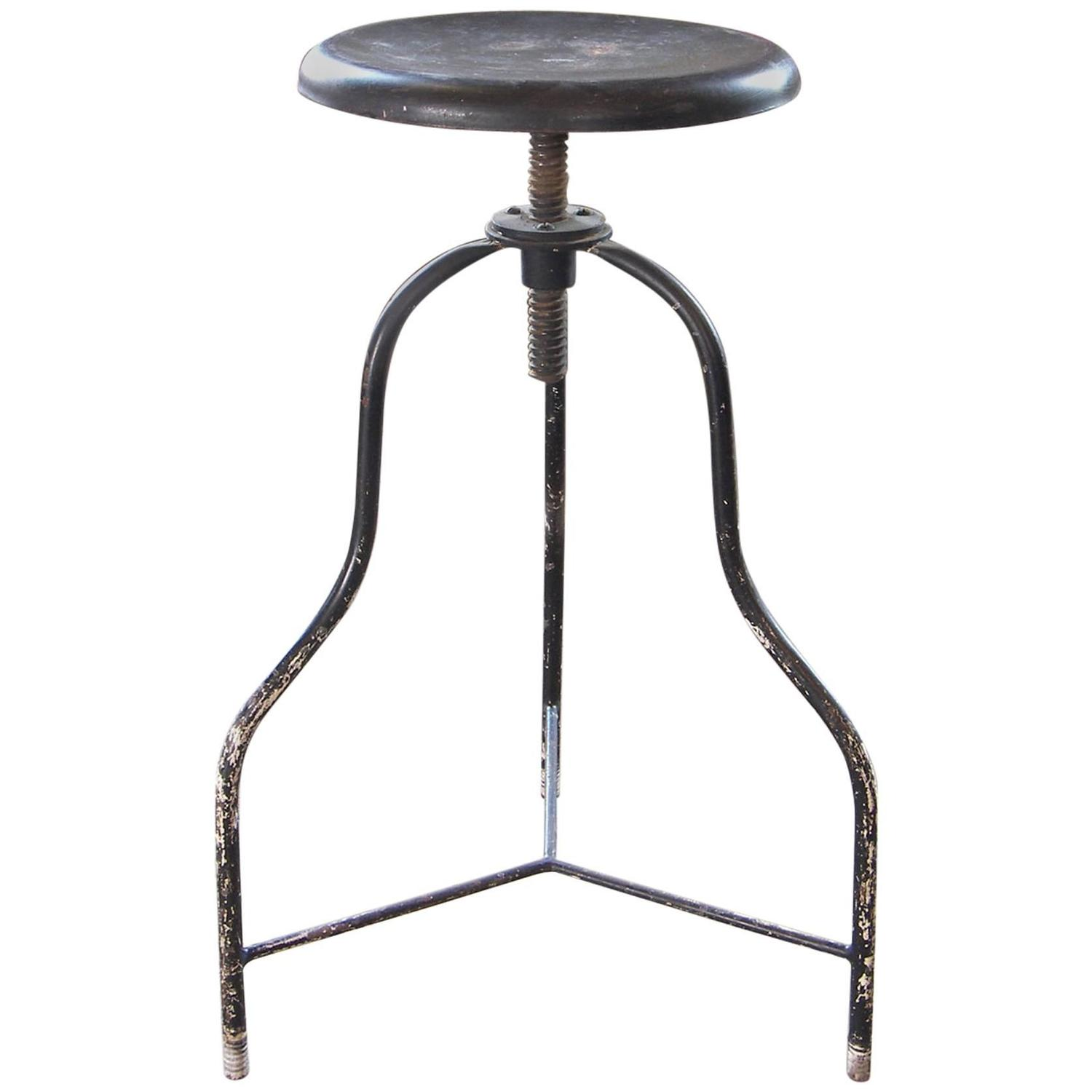 Vintage Black Metal Medical Stool with Three Legs Adjustable Seat Height For Sale at 1stdibs  sc 1 st  1stDibs & Vintage Black Metal Medical Stool with Three Legs Adjustable Seat ... islam-shia.org
