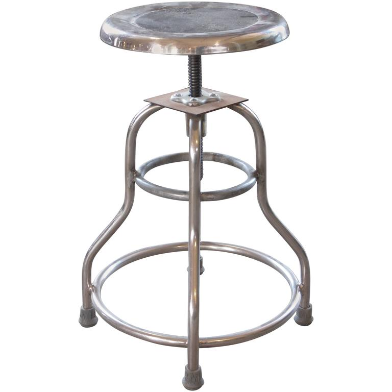 Vintage Shampaine Metal Medical Silver Adjustable Stool
