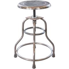 "Vintage Medical Stool ""Shampaine"" Silver Metal Adjustable Backless Seat"