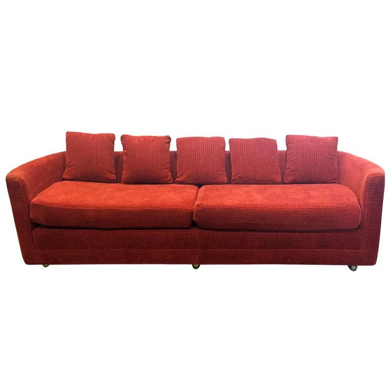 Custom mid century sofa in rust colored chenille for sale for Unique sofas for sale