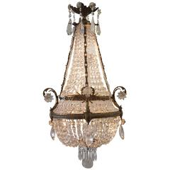 19th Century Gilt Bronze Empire Chandelier with Crystals