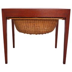 Teak and Rattan Sewing Table by Severin Hansen Jr. for Haslev Mobelsnedkeri