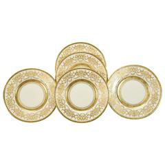 Ten Minton for Tiffany Gilt Dinner Service Plates with Profuse Raised Paste Gold