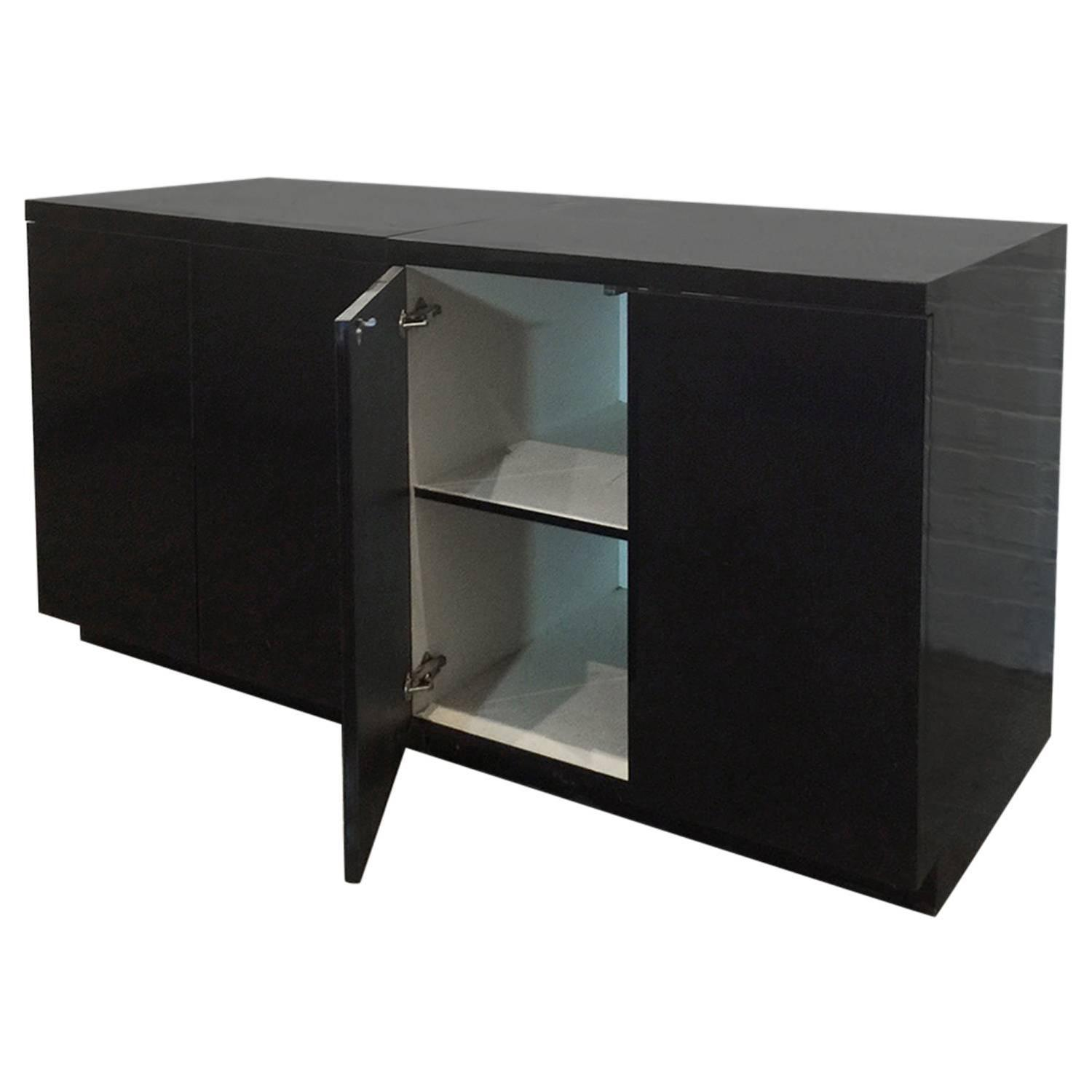 Formica Kitchen Cabinet: Two Sleek Black Formica Storage Cabinets For Sale At 1stdibs