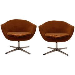 Pair of Swedish Overman Swivel Pod Chairs, Need Reupholstery