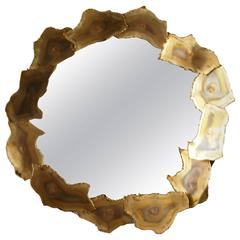 Sculptural Brass Mirror by Curtis Jere, circa 1960s