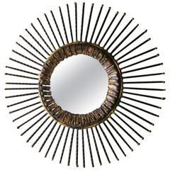 Blackened Twisted Steel and Bronze Accented Mirror by Curtis Jere  C. 1968