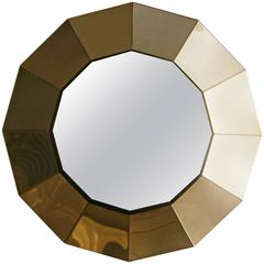 Spectacular 12 Sided Brass Mirror by Curtis Jere, circa 1970's