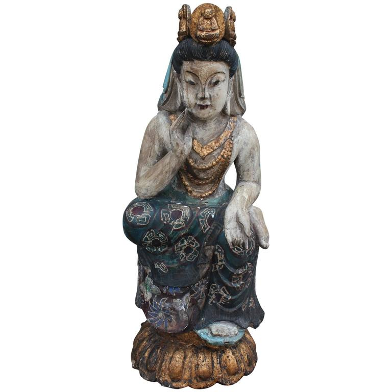 Early 20th Century Carved Wood Seated Buddha