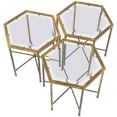 Set of Three Mastercraft Hexagonal Side Tables