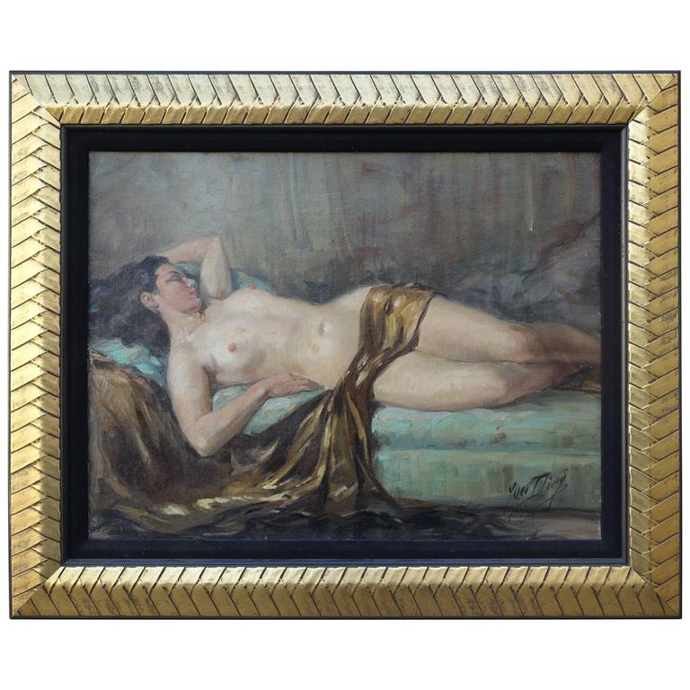 """""""Reclining Nude,"""" Oil on Canvas by Yves Diey"""