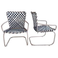 Pair of Classic Mid-Century Modern Russell Woodard Patio Spring Lounge Chairs