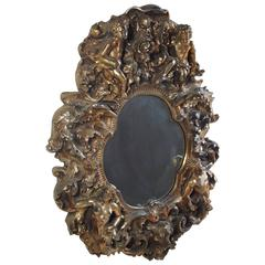 Sculptural Fantasy Gold Gilt Wall Mirror, Angels, Centaur, Finesse Originals