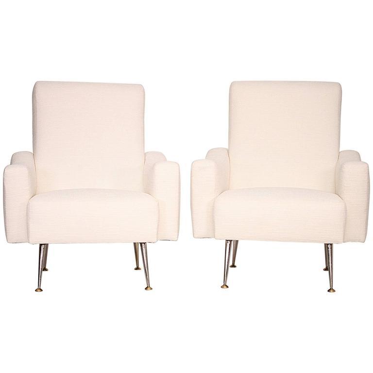 Pair of 1950s White Italian Armchairs