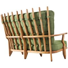 Guillerme et Chambron Solid Oak Sofa with Green Fabric Upholstery